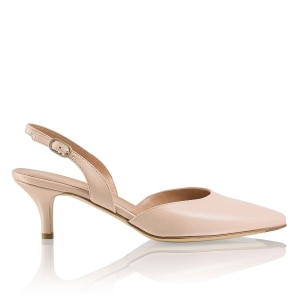ee388586c4454 GRACE Mid-Heel Halter Sling in Nude Leather | Russell & Bromley