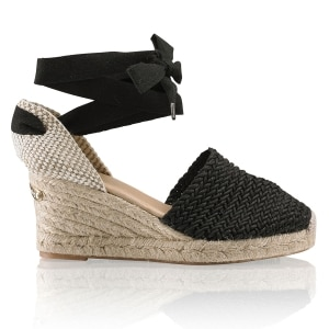 6fd4b715a34 COCOWRAP Ankle Wrap Espadrille in Black Fabric | Russell & Bromley