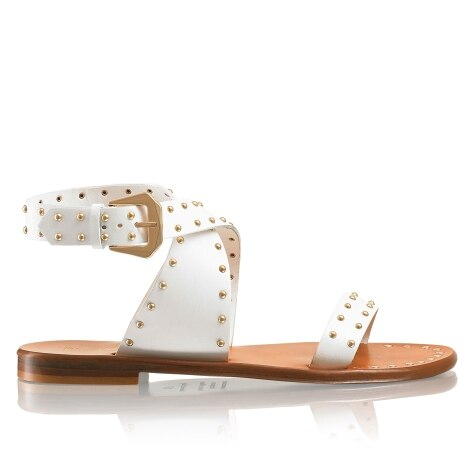 78ef3d750 PIN IT Studded Ankle Wrap Sandal in White Leather