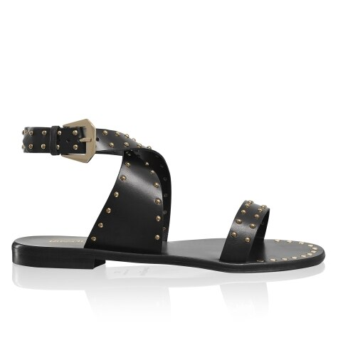 57dcba37a PIN IT Studded Ankle Wrap Sandal in Black Leather