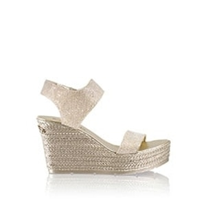 8a51f7c91a0 COIN SPIN Stud Wedge Espadrille in Metallic Leather