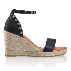 b8a6e04eb24 COIN SPIN Stud Wedge Espadrille in Black Leather
