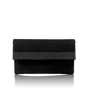 c0181942 PLAZA HOLD Jewelled Clutch Bag in Black Suede | Russell & Bromley
